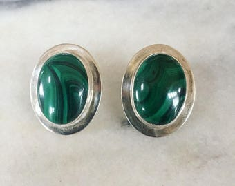 Vintage Morning Star Native American Sterling Silver and Malachite earrings
