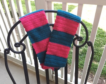 Colorful, soft rugby-stripe infinity scarf!