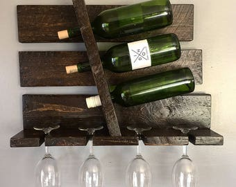 Rustic Wine Rack, Wood Wine Rack, Wall Wine Rack, Rustic Kitchen Decor, Wedding Gift, Housewarming Gift