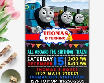 Thomas Train Invitations, Thomas Invitation, Thomas Train Birthday, Thomas Train Party, Thomas Card, Thomas Invite, Thomas Invitation