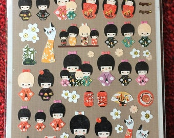 Beautiful Japanese Kokeshi Doll stickers.
