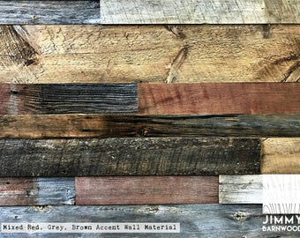 Reclaimed Barn Wood Accent Wall Material | Mixed Colors | Red-Grey-Brown