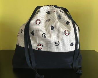 Handmade drawstring bag / pouch for knitting crochet project 26 x 22 x 7.5 cm *Go Sailing*