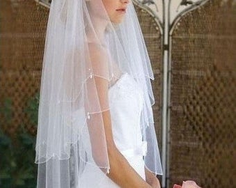 White 2 tier crystal drop veil