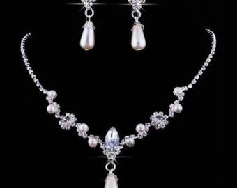 Pearl and crystal bridal necklace and earrings