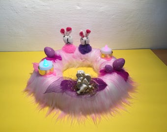 The Easter wreath in purple with 2 cloth bunnies