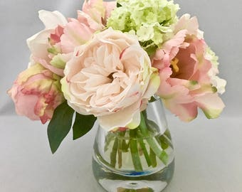 Silk Floral Arrangement Faux Pink/Green Parrot Tulips,Pale Pink Peonies, orchids & Viburnum with Illusion Water by Bouquet home