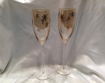 Golden Champagne Flutes
