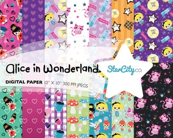 Alice in Wonderland Digital Paper Pack, Digital Pattern, Wonderland Paper Pack, Alice Digital Paper, Queen of Hearts Paper, Commercial Use