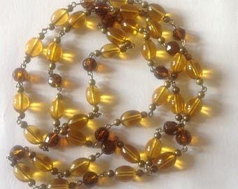 Long yellow crystal glass necklace fashion necklace handmade necklace Amber necklace long necklace flapper necklace beaded necklace