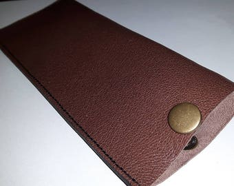 Leather glasses case with snap