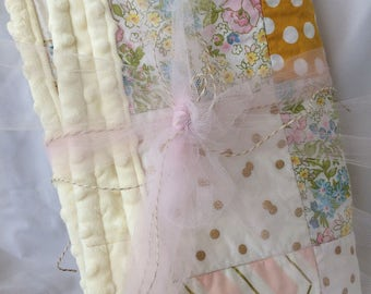 Quilted Minky Baby girl Stroller Blanket in Chic Birds, Floral, Pastels, Mustard Dots- A Nursery & Baby Shower Essential