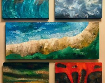Serenity. Original 5 Piece Acrylic Abstract. 36x40 Gallery Profile Canvas.