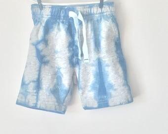 New indigo hand-dyed boys French terry shorts - shibori style