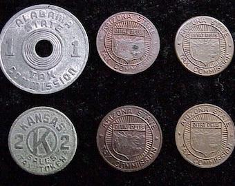 Vintage Alabama, Arizona, Kansas  Metal Sales and Lixury TAX TOKENS Lot of 6