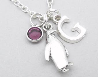 Penguin monogram necklace | penguin charm necklace | penguin pendant | personalised penguin necklace | penguin jewelry | initial letter