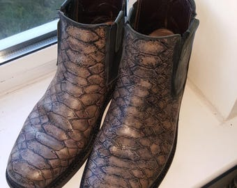 hand painted leather boots