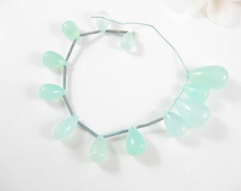 12Pc - Smooth Aqua Green Chalcedony Gemstone Briolettes 8mm - 25mm