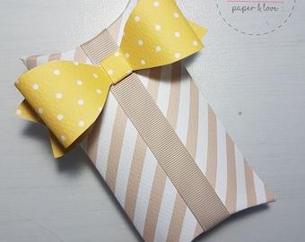 Handmade favors, choice materials and shapes.
