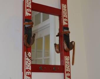 Vintage Ski Mirror with hooks