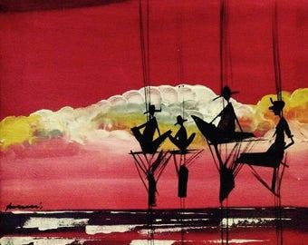 Stilt fishermen and sunset