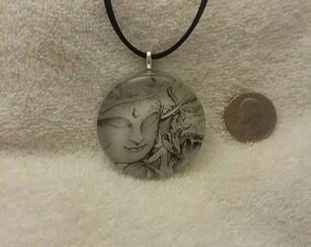 Glass Buddha pendant- one of a kind