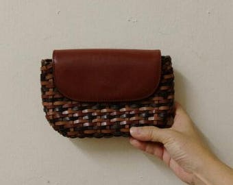 Vintage Brown Leather Weaved Pouch
