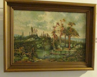 Nordic-Norwegian forest by pond oil paint on canvas