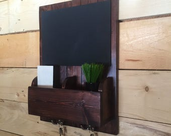 Mail Organizer and Key Holder for Wall, with Shelves, Mail Holder, Key Hooks, and Chalkboard, for Entryway, Kitchen, or Office