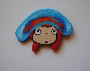 Magnet Ponyo PONYO's Studio Ghibli, handmade wood
