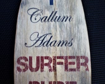 personalised wooden surfboard sign