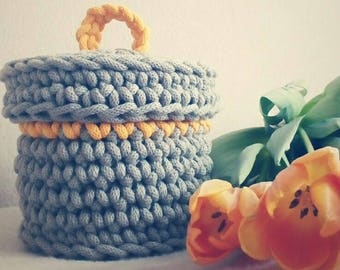 cotton basket with the lid, storage basket, crocheted basket