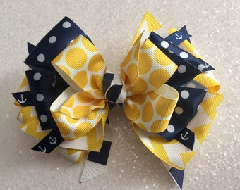 """Yellow & Navy Anchor 5""""Bow with Gator Clip"""