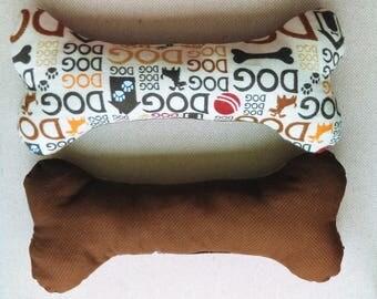 Large Dog Bone Toy w Squeaker - Multiple Fabrics