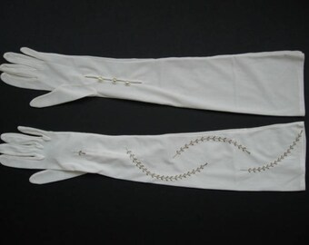 Vintage pale cream nylon evening gloves with gold thread embroidery