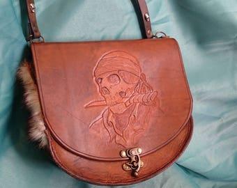 Handbag special leather tooled handbags, skull, pirate, skull
