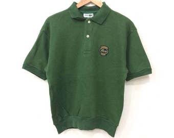 Rare! Vintage 90's LACOSTE Club Half Button Sweatshirt Green Color