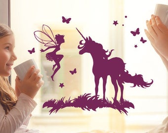 Window screen work Unicorn with fairy Elf M2097