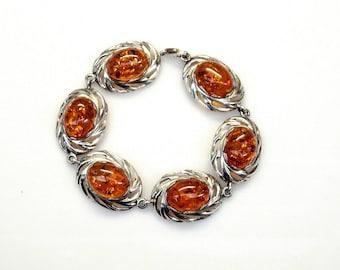 Sterling Silver Oval Shape Amber Filigree Design Bracelet