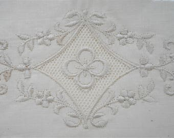Pair of white pillow cases with white flower embroidery embellishments, crown tested, vintage bedding,  bed linens, shabby chic
