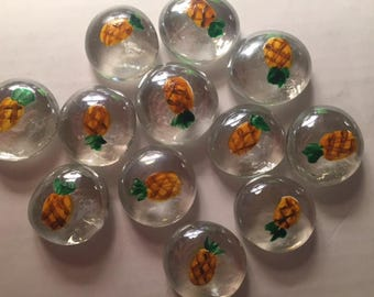 12 Handpainted Pineapple Glass Gems