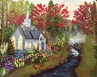 Mountain Chapel Painting, Fine Art, Wall Art, Home Decor, Landscape, Nature, Gift