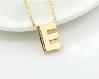 Initial necklace, gold pendant,