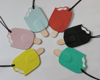 Popsicle Leather Bag Charms, Summer Fun! Handmade, Geniune Leather, perfect for Hermes Chanel Bags in All Colors