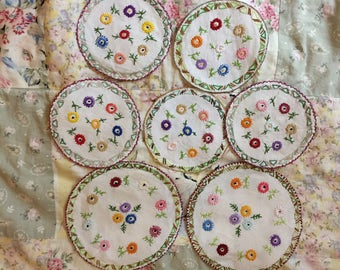 Vintage embroidered coasters/mats/doilies