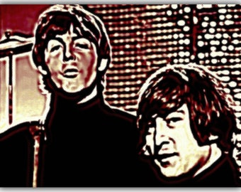 John Lennon and Paul McCartney The Beatles Canvas Art Print