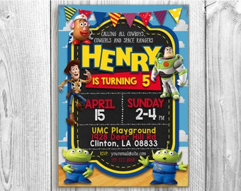 Toy Story Birthday Invitation, 5x7/4x6 Toy Story Party Custom Chalkboard Invitation, Toy Story Printable Invitation Card, Toy Story Invites
