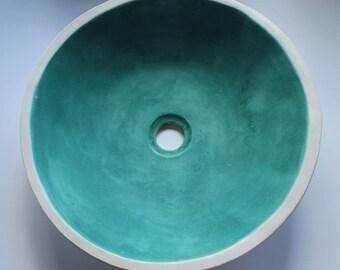 Turquoise & white matt table top sink, washbasin, bathroom sink, handmade ceramic sink