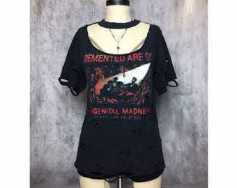 DEMENTED ARE GO Hand Distressed Open Collar Band T-Shirt