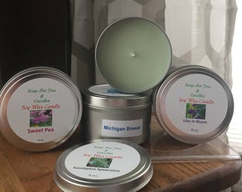 8 oz Soy Wax Footed Tin Candle